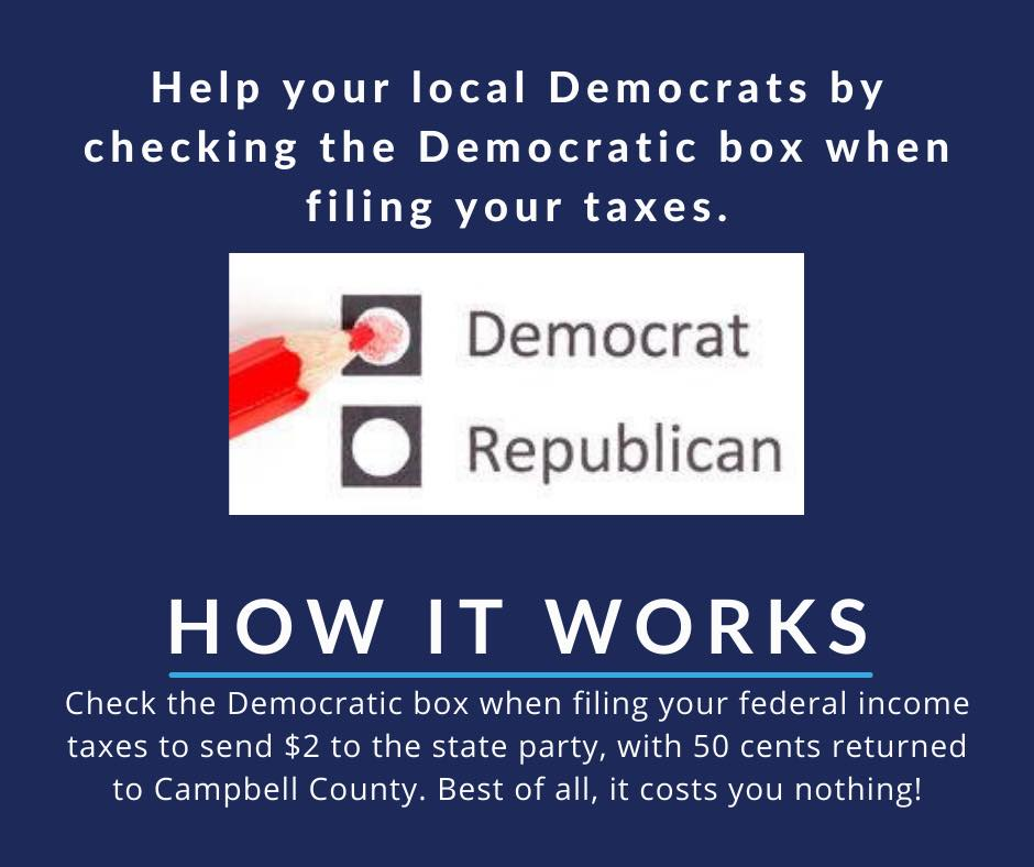 Graphic explaning how to support the Democratic party through taxes